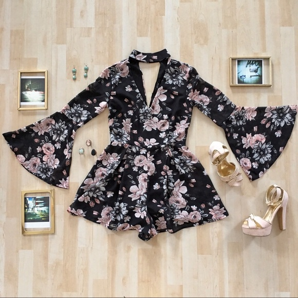 Streetwear Society floral romper with bell sleeves